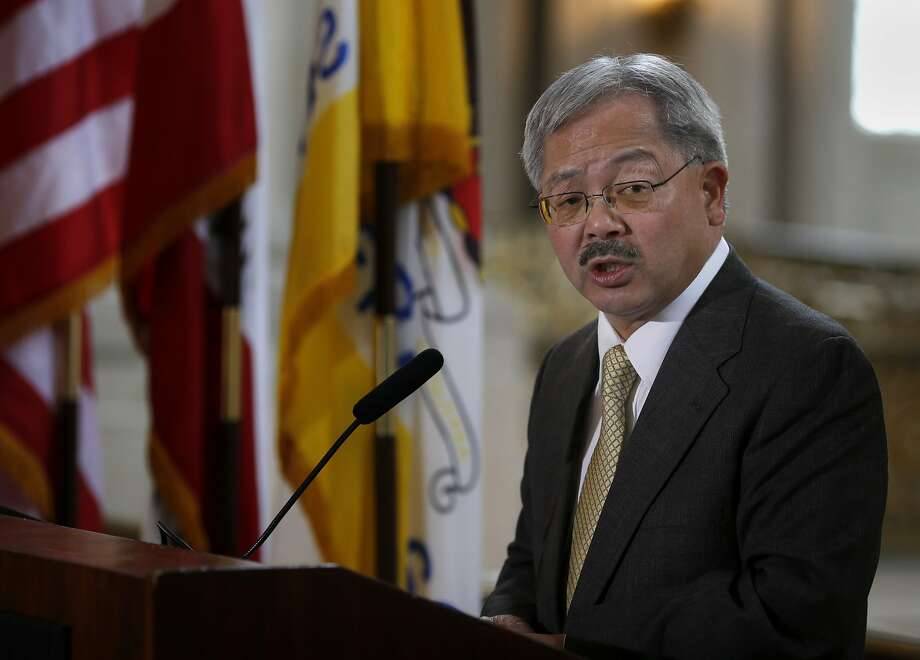 Mayor Lee addressed three women honorees during the ceremony Tuesday March 25, 2014. San Francisco Mayor Ed Lee celebrated Women's History month in a ceremony outside his City Hall offices. Photo: Brant Ward, The Chronicle