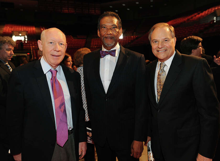 From left, former Houston Mayor Bill White, Rep. Joe Deshotel and former congressman Nick Lampson during Jack Brook's 'Celebration of Life' services at the Montagne Center in Beaumont on Sunday. The famed congress man died Tuesday night at Baptist Hospital from a sudden illness.  Photo taken Sunday, December 09, 2012 Guiseppe Barranco/The Enterprise Photo: Guiseppe Barranco, STAFF PHOTOGRAPHER / The Beaumont Enterprise