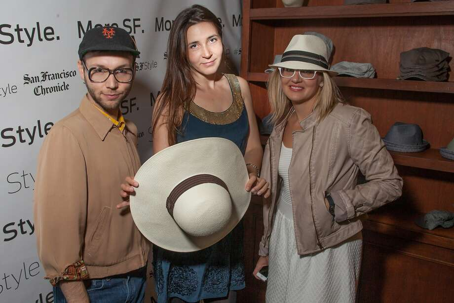 Tony Bravo, Maghan McDowell, and Valerie Demicheva at Goorin Brothers Hats at the Chronicle Style Launch on April 23rd, 2014 in San Francisco, CA. Photo: Dan Dion, Special To The Chronicle