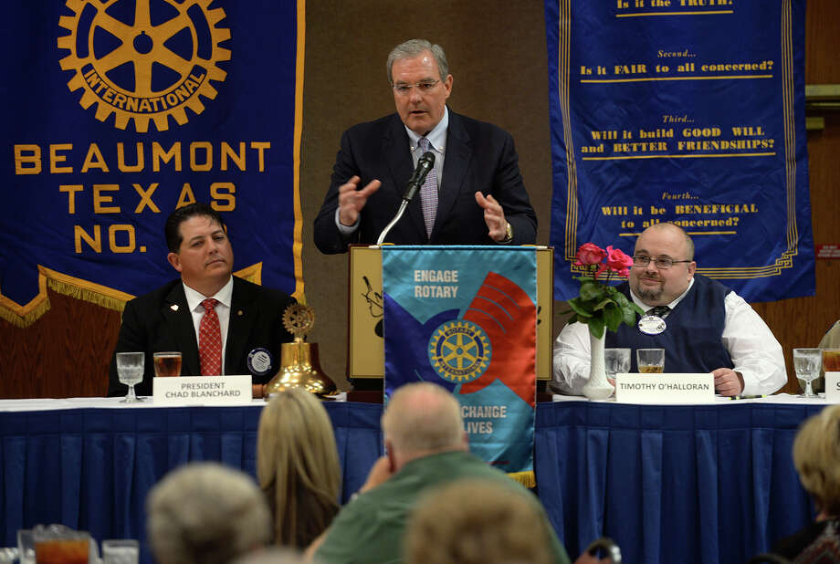 Dee Margo, the appointed president of the El Paso ISD board of managers, spoke Wednesday at the Beaumont Rotary Club's luncheon. Margo addressed his experiences, battles and achievements with reorganizing El Paso's school district after its superintendent was arrested and school board was removed. Photo taken Wednesday, April 30, 2014 Guiseppe Barranco/@spotnewsshooter Photo: Guiseppe Barranco, Photo Editor