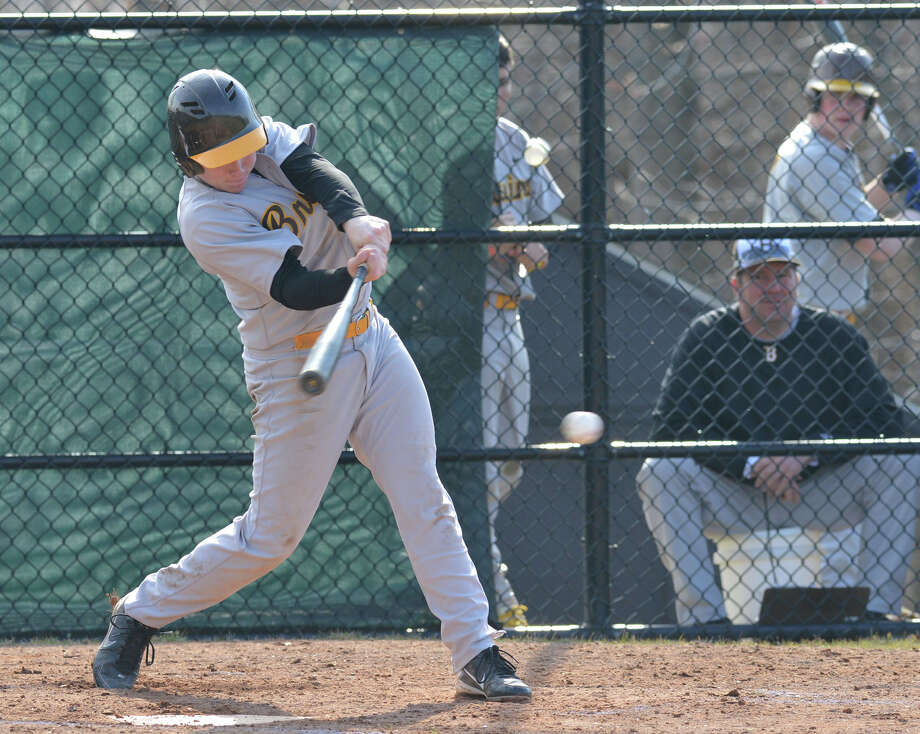 High school baseball game between Brunswick School and Hopkins School at Brunswick School in Greenwich, Wednesday, April 2, 2014. Brunswick defeated Hopkins, 8-2, with Brunswick's Bradley Wilpon getting the win. Photo: Bob Luckey / Greenwich Time