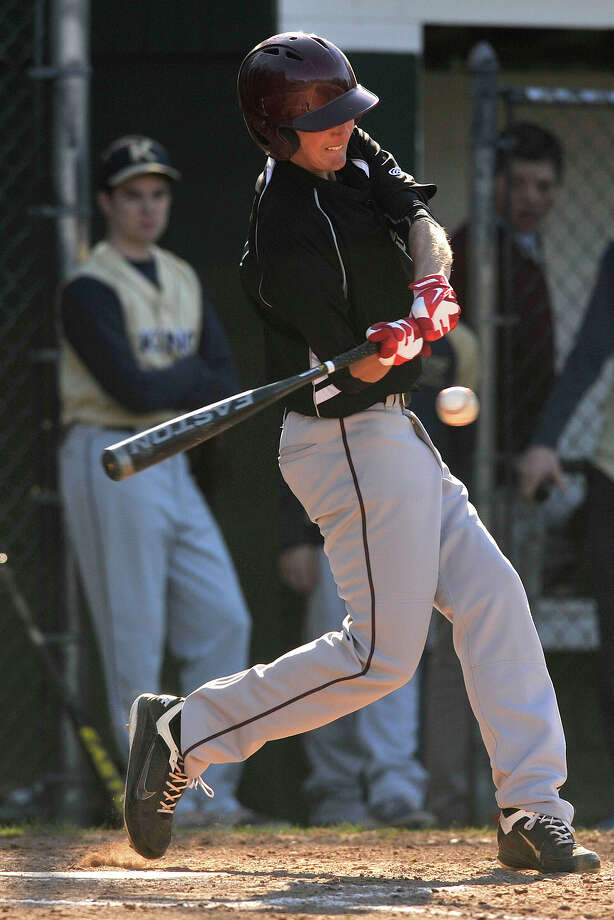 St. Luke's School's Jack Tokin swings at the ball during the Storms' game against King School at St. Luke's School in New Canaan, Conn., on Thursday, April 24, 2014. King School won, 13-0, in 5 innings. Photo: Jason Rearick / Stamford Advocate