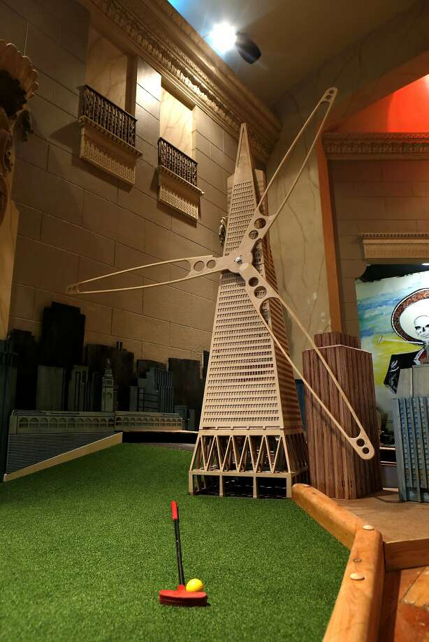 A windmill with a San Francisco twist adorns the fifth hole at Urban Putt, the new indoor mini golf course and restaurant opening soon on South Van Ness Avenue. Photo: Michael Macor, The Chronicle