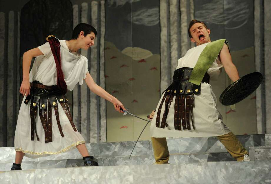 """The Greek Mythology Olympiaganza,"" presented by Pomperaug Theatre Company, at Pomperaug High School in Southbury pokes fun at Greek mythological tales. The play, directed by Paul Doniger, will be performed all weekend. Find out more.  Photo: Tyler Sizemore / The News-Times"