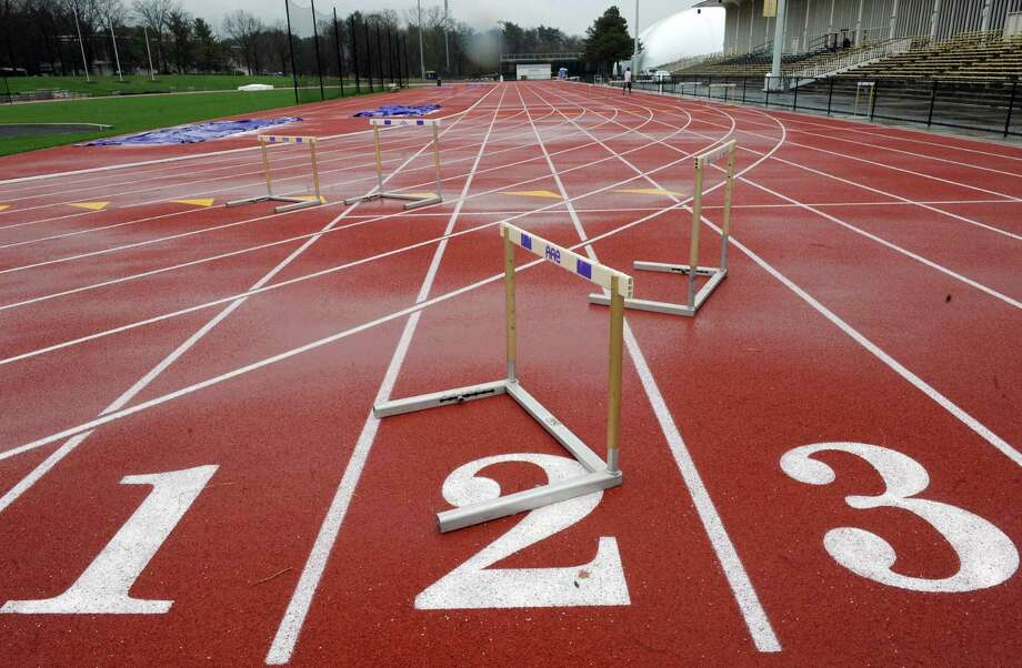 The new track at UAlbany on Wednesday April 30, 2014 in Albany, N.Y. (Michael P. Farrell/Times Union) Photo: Michael P. Farrell / 00026696