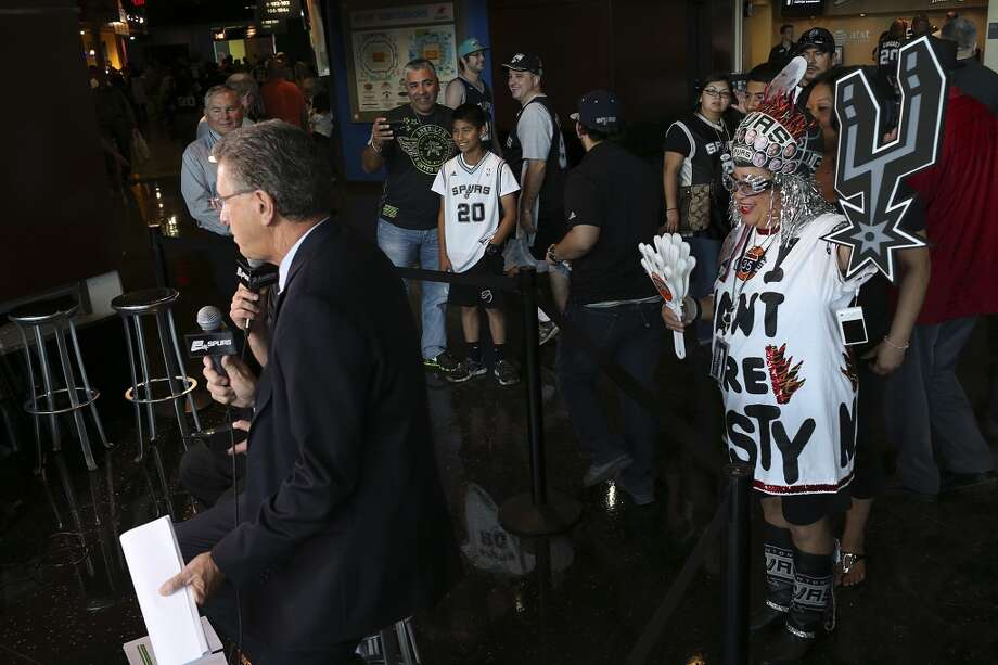Sovia Lauriano gets on Spurs TV before game five in the first round of the Western Conference Playoffs between the San Antonio Spurs and the Dallas Mavericks at the AT&T Center, Wednesday, April 30, 2014. Photo: Jerry Lara, San Antonio Express-News
