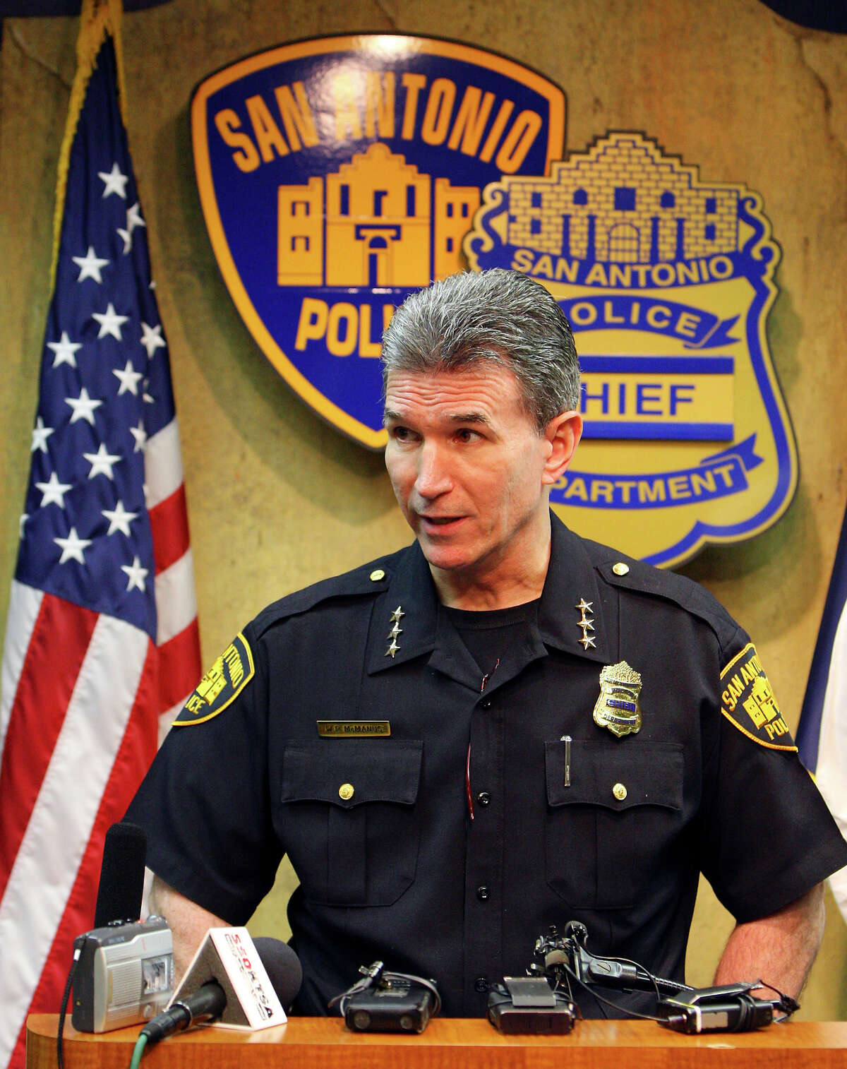San Antonio Police Chief William McManus answers questions during a press conference on March 12, 2010 at SAPD headquarters.