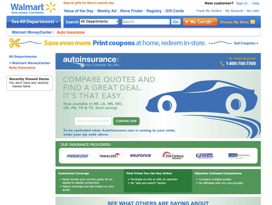 This framegrab of the Wal-Mart website shows the auto insurance shopping page taken Wednesday April 30, 2014. Wal-Mart is bringing one-stop shopping to another area: auto insurance. The world's largest retailer has teamed up with AutoInsurance.com to let shoppers quickly find and buy insurance policies online in real time to cut down costs. The service is available immediately in eight states including Arkansas, Louisiana, Mississippi, Missouri and Oklahoma, and will be available nationwide in the next few months. (AP Photo/Wal-Mart.com) Photo: HOEP / Wal-Mart.com