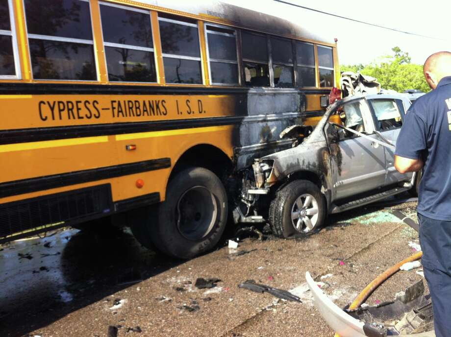 The driver of an SUV collided with Cypress-Fairbank ISD school bus on Wednesday afternoon in northwest Harris County. No students were injured. The SUV's driver was taken to an area hospital with unknown injuries. Photo: Harris County Sheriff Office