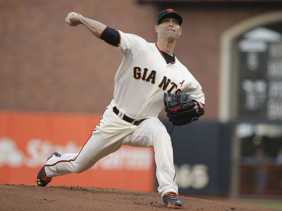 San Francisco Giants starting pitcher Tim Hudson throw against the San Diego Padres in the first inning of a baseball game Wednesday, April 30, 2014, in San Francisco. (AP Photo) Photo: Associated Press
