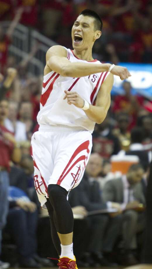 Rockets guard Jeremy Lin after hitting a 3-pointer. Photo: Brett Coomer, Houston Chronicle