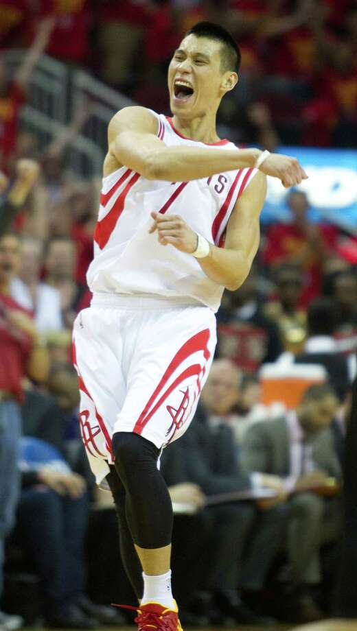 Rockets guard Jeremy Lin gets fired up after draining a second-quarter 3 en route to 21 points on Wednesday night. Photo: Brett Coomer, Staff / © 2014 Houston Chronicle