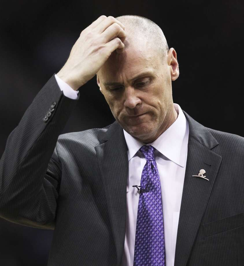 Dallas Mavericks Head Coach Rick Carlisle reacts during a timeout in the second half of Game 5 of the first round of the Western Conference playoffs at the AT&T Center on Wednesday, Apr. 30, 2014. Spurs defeated the Mavericks, 109-103. (Kin Man Hui/San Antonio Express-News) Photo: San Antonio Express-News