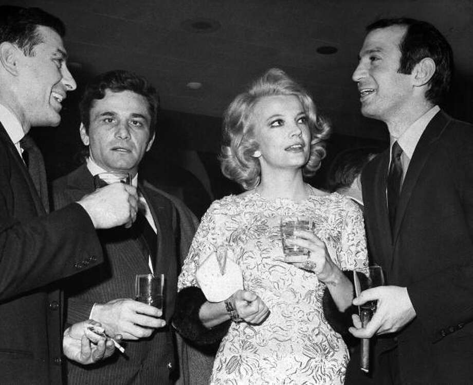 John Cassavetes, Peter Falk, Gena Rowlands and Ben Gazzara (l. to r.) at the annual Film Critics Awards at the Rainbow Grill in Rockefeller Center.  Basically, anything by John Cassavetes is worth watching, but not on an airplane. Photo: New York Daily News Archive, NY Daily News Via Getty Images / 1969/Daily News, L.P. (New York)