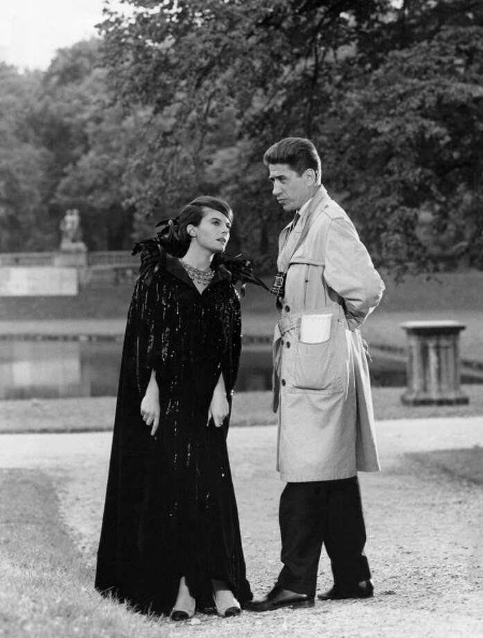 Director Alain Resnais and actress Delphine Seyrig, during the making of LAST YEAR AT MARIENBAD.  A classic, but seven miles in the air, you probably won't care if they met last year or not. Photo: Keystone-France, Gamma-Keystone Via Getty Images / 1960 Keystone-France