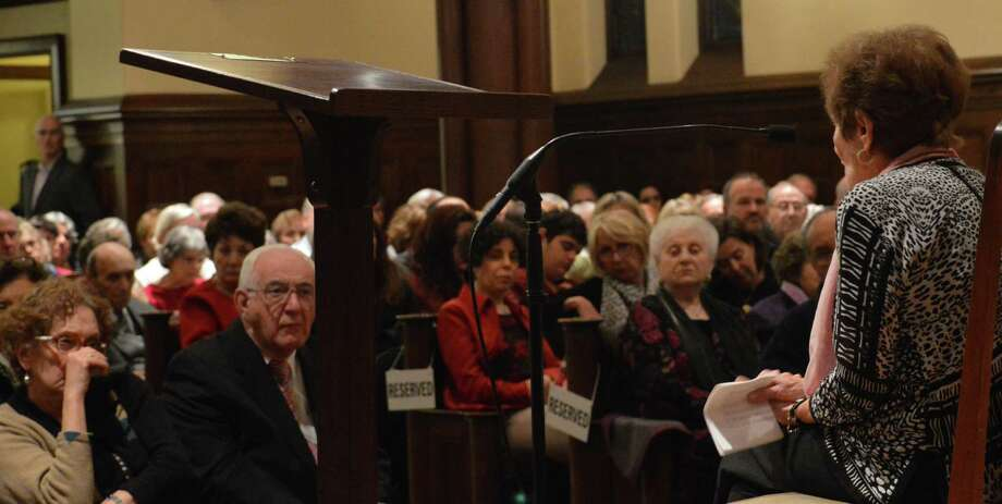 Gisela Adamski of West Hartford, who survived the Auschwitz concentration camp, where her mother died, shared her story at the town's annual Holocaust Commemoration at First Church Congregational on Wednesday night. Photo: Jarret Liotta / Fairfield Citizen