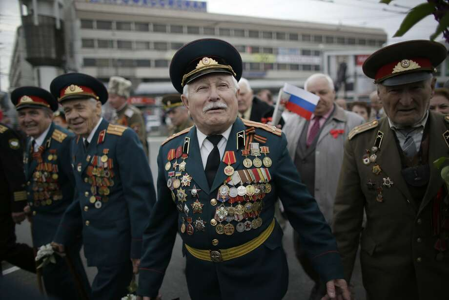 WWII veterans take part in the May Day march in Simferopol, the Crimean capital on Thursday, May 1, 2014. Photo: Max Vetrov, Associated Press