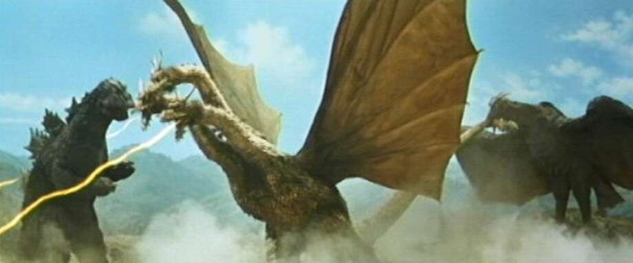 """""""Godzilla vs. Monster Zero"""" – Featuring more monsters than you can shake a mutated tail at, Godzilla vs. Monster Zero sees Godzilla and Rodan (a radioactive pterodactyl) travel to Planet X at the behest of its people to fight three-headed Ghidorah (aka Monster Zero).Available Now! Photo: Netflix"""