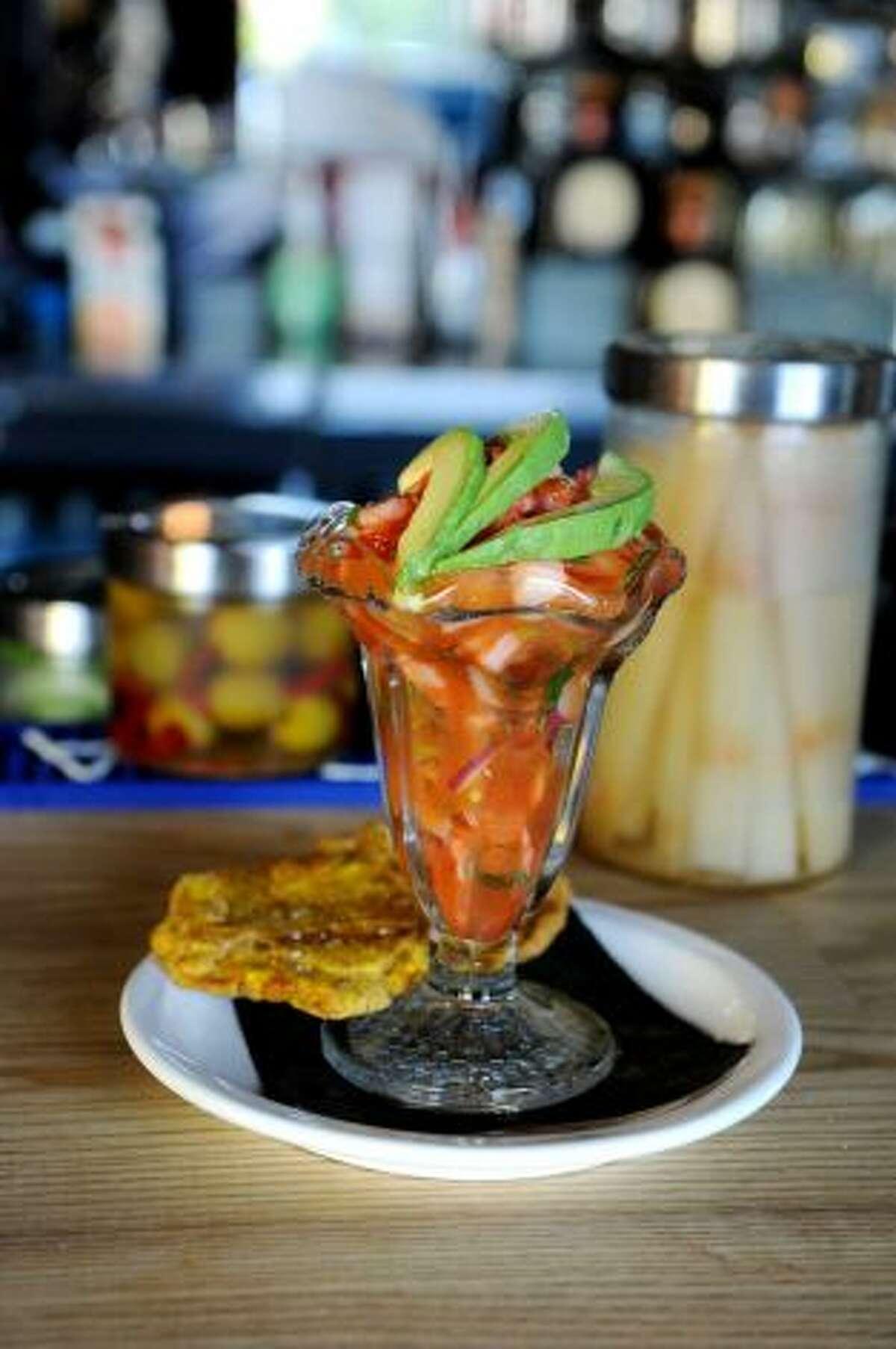 Ceviche: shrimp and scallop with sliced avocado and testones at Valencia Luncheria in Norwalk.