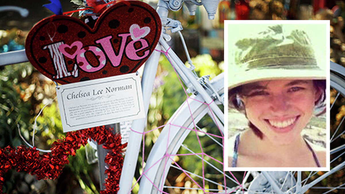 The bike memorial for Chelsea Norman, 24, a cyclist who was hit by a motorist Dec. 1, 2013, near the corner of Waugh and West Gray as she rode home from her job at Whole Foods. Norman later died from her injuries.