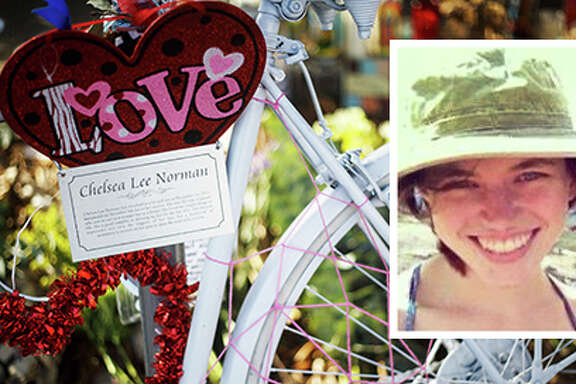 The bike memorial for Chelsea Norman, 24, a cyclist who was hit by a motorist Dec 1 near the corner of Waugh and West Gray as she rode home from her job at Whole Foods, Wednesday, Feb. 5, 2014, in Houston.  Norman later died from her injuries.