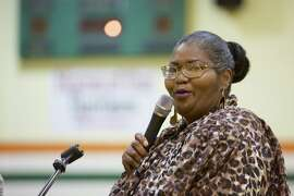 Dorothy Gaines speaks at a welcome home event at for Clarence Aaron at his former high school in Mobile, Ala., Saturday, April 26, 2014. Aaron had been sentenced to serve three life terms in prison for his 1993 conviction for his role introducing two drug dealers. In December, President Barack Obama commuted his sentence. Gaines had her prison sentence commuted in 2000.