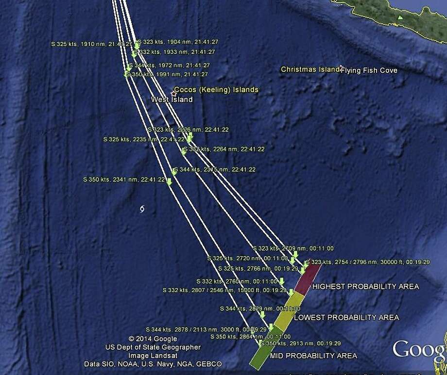 A map released by the Malaysian government shows possible paths of Flight 370. Photo: Handout, Reuters