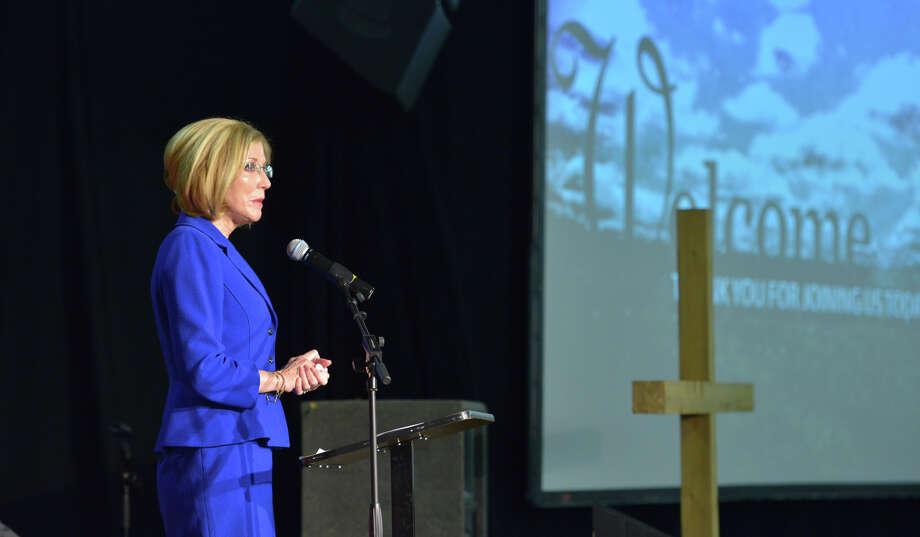 Judge Sandee Bryan Marion speaks during the National Day of Prayer Breakfast at the Tri-Point YMCA Thursday. Photo: Robin Jerstad, For The San Antonio Express-News