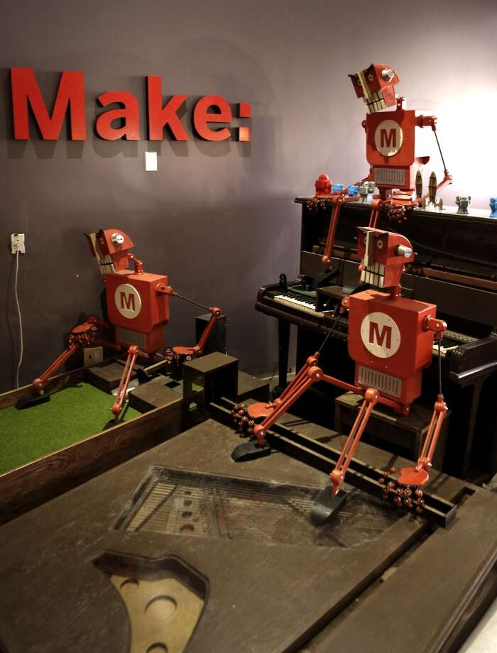 Robotics constructed by the people from Make Magazine one of the featured miniature golf holes inside Urban Putt in San Francisco. Photo: Michael Macor, The Chronicle