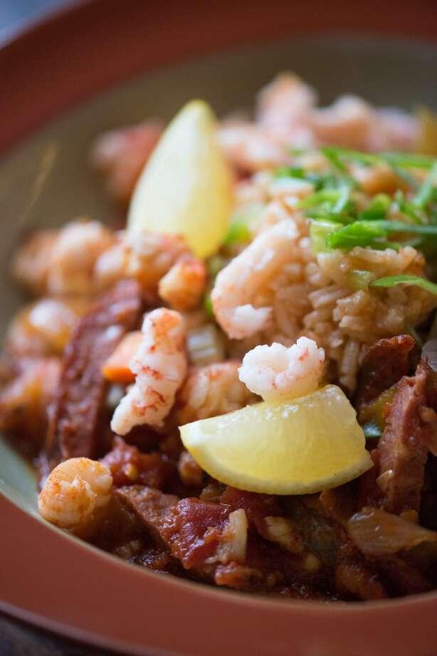 Jambalaya: free range chicken, crayfish tails, andouille sausage,  spicy creole tomato & pepper sauce, scallion rice, lemon $21 Photo: Kristen Loken