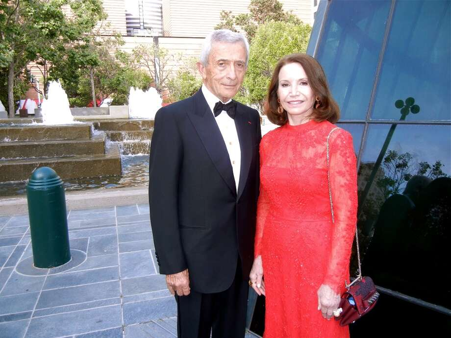 Pierre Lamond and his wife, Modern Ball chairwoman Christine Lamond (in Valentino), at YBCA.