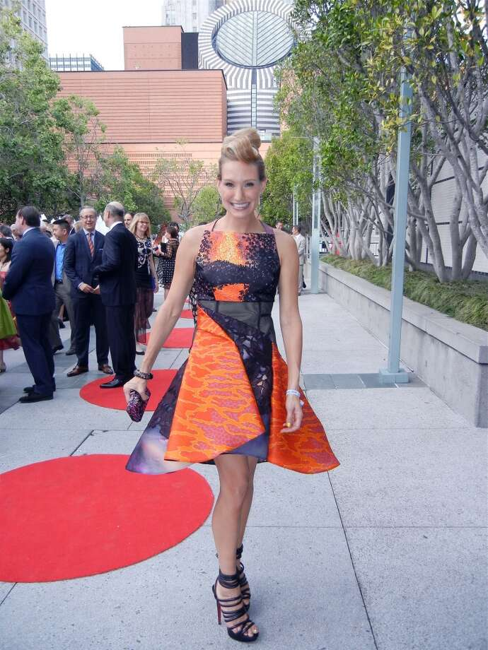 "Rachael Bowman wowed in the ""Volcano"" cocktail dress by designer Peter Pilotto."