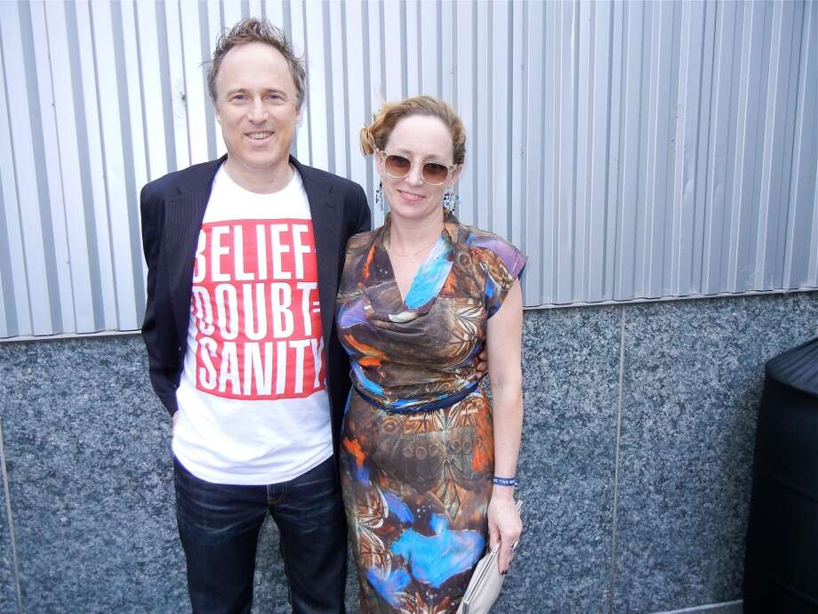 Architect Jef Biesinger (in a Barbara Kruger T-shirt) and his gal, SF Travel Culture Director Lisa Hasenbalg.