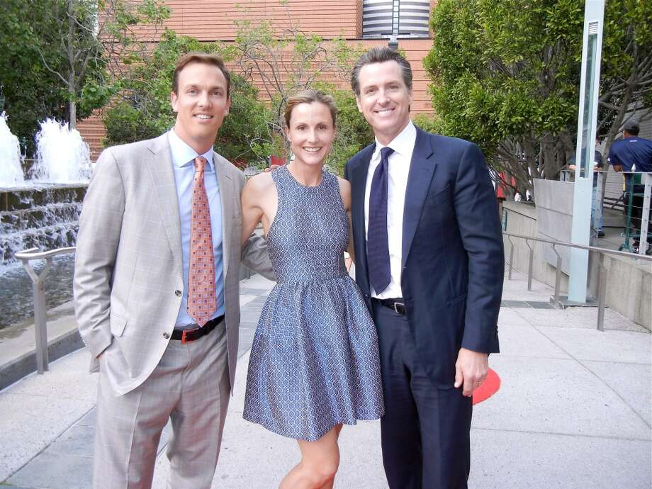 Alec and Serena Perkins (left) with Lt. Gov. Gavin Newsom.