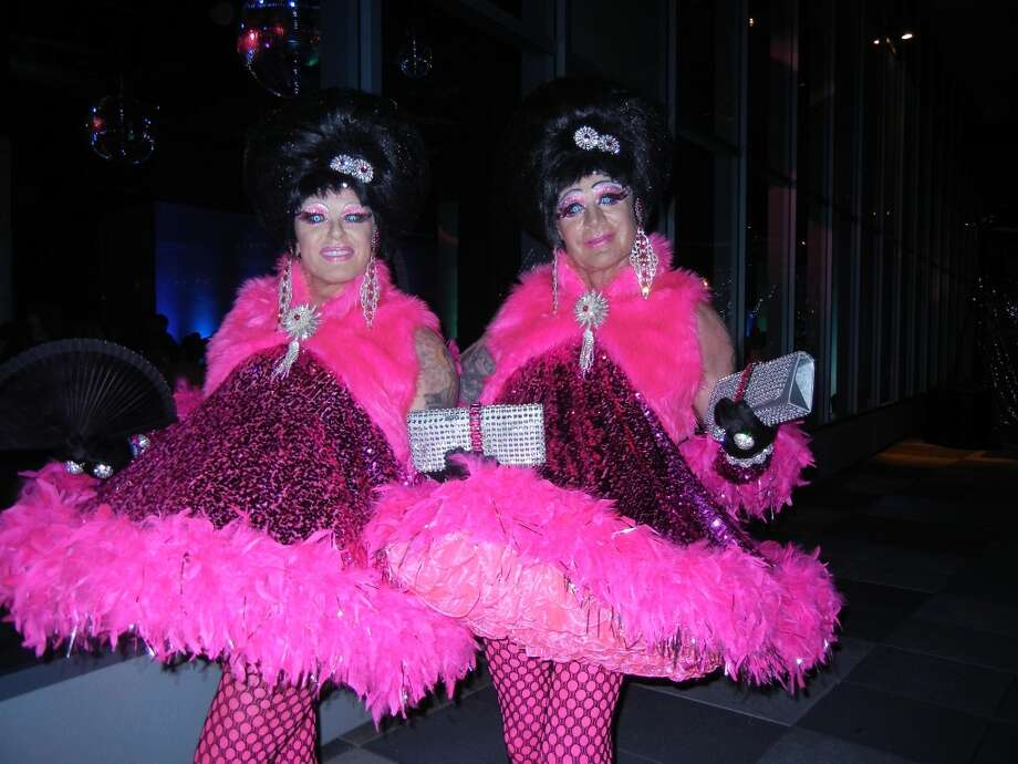 Drag artists Bubble (left) and Squeak matched the Post-Modern party mood.
