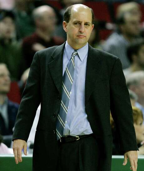 Houston Rockets coach Jeff Van Gundy watches his team in the first quarter against the Seattle SuperSonics Monday, April 9, 2007 in an NBA basketball game at KeyArena in Seattle. Van Gundy was without guard Bonzi Wells, who didn't join his team for their game against the Seattle SuperSonics after playing Sunday night against the Sacramento Kings. (AP Photo/Ted S. Warren) Photo: Ted S. Warren, STF / AP
