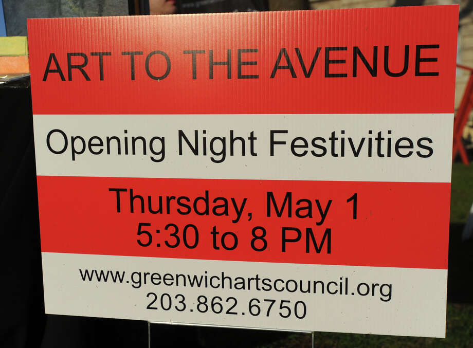 The Greenwich Arts Council's annual Art to the Avenue event on Greenwich Avenue, Thursday night, May 1, 2014. More than 150 artists will display artworks at local stores and businesses through May 26. All art is for sale. A portion of sales is tax deductible and benefits the Greenwich Arts Council. For a map of artists and their locations, visit www.greenwich arts.org Photo: Bob Luckey / Greenwich Time