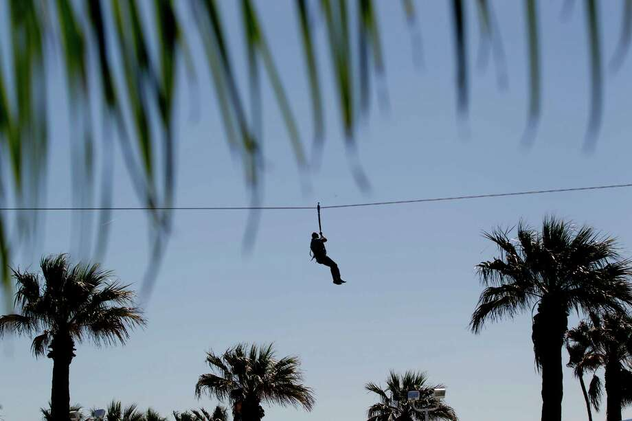 "Gordon Schneider dangles from a zip line over palm trees at Moody Gardens. ""It was fun,"" Schneider said. ""I've never done a zip line before. I highly recommend it."" Photo: Johnny Hanson, Houston Chronicle / © 2014  Houston Chronicle"
