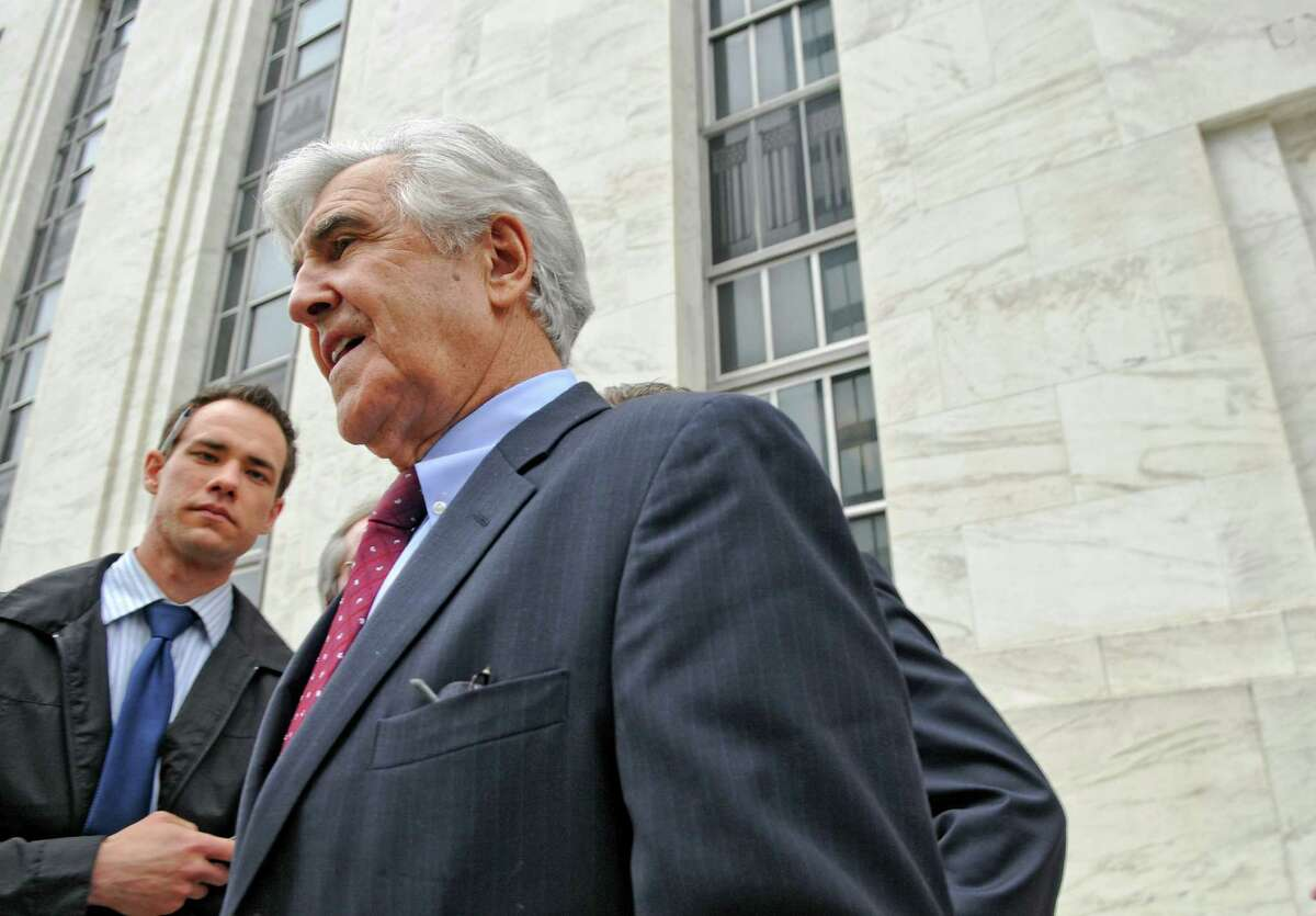 Former Senate Majority Leader Joseph Bruno walks past members of the media after leaving U.S. District Court after being indicted for a second time on Thursday afternoon May 3, 2012 in Albany, NY. (Philip Kamrass / Times Union )