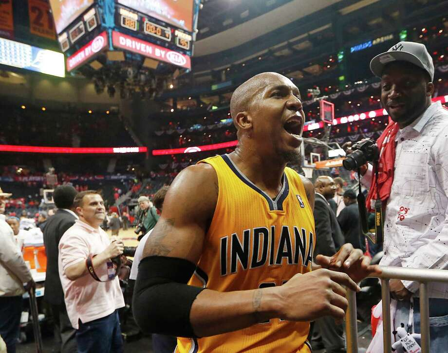 Indiana Pacers forward David West reacts as he leaves the court after Game 6 of a first-round NBA basketball playoff series against the Atlanta Hawks in Atlanta, Thursday, May 1, 2014. Indiana won 95-88. (AP Photo/John Bazemore)  ORG XMIT: GAJB114 Photo: John Bazemore / AP