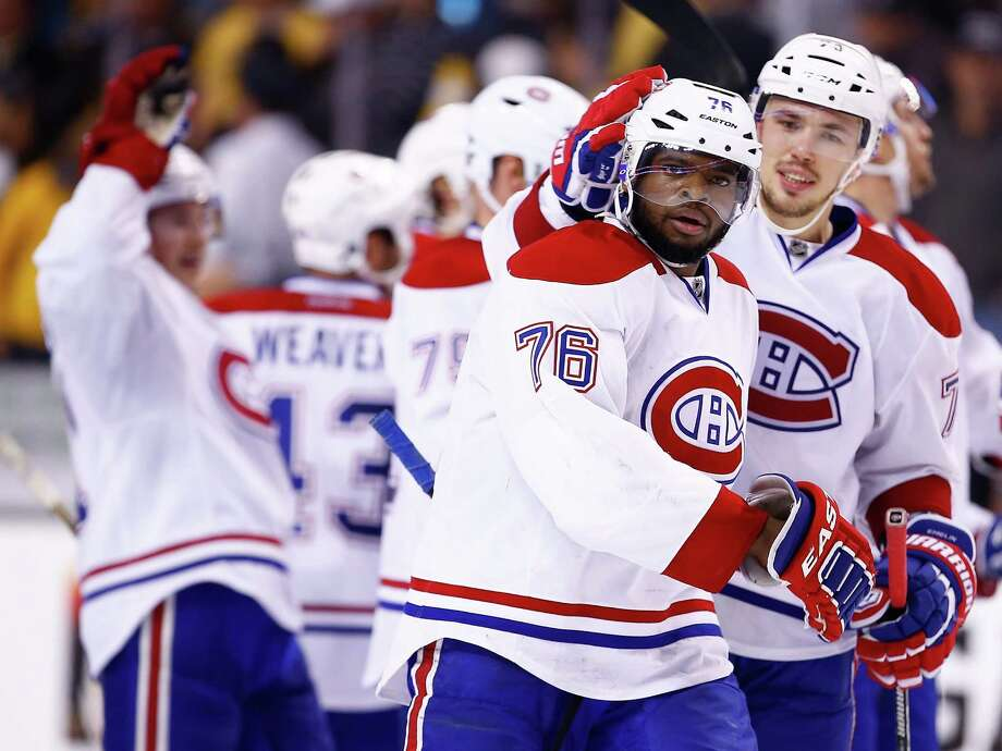 P.K. Subban celebrates his game-winning overtime goal that lifted Montreal past Boston. Photo: Jared Wickerham, Staff / 2014 Getty Images