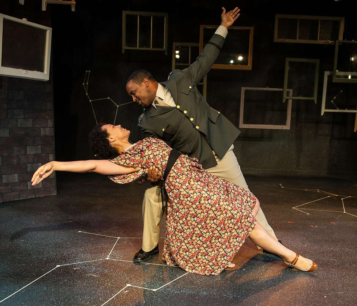 """Beatrice (Leontyne Mbele-Mbong) and Benedick (Ryan Vincent Anderson, top) in African-American Shakespeare Company's """"Much Ado About Nothing)"""