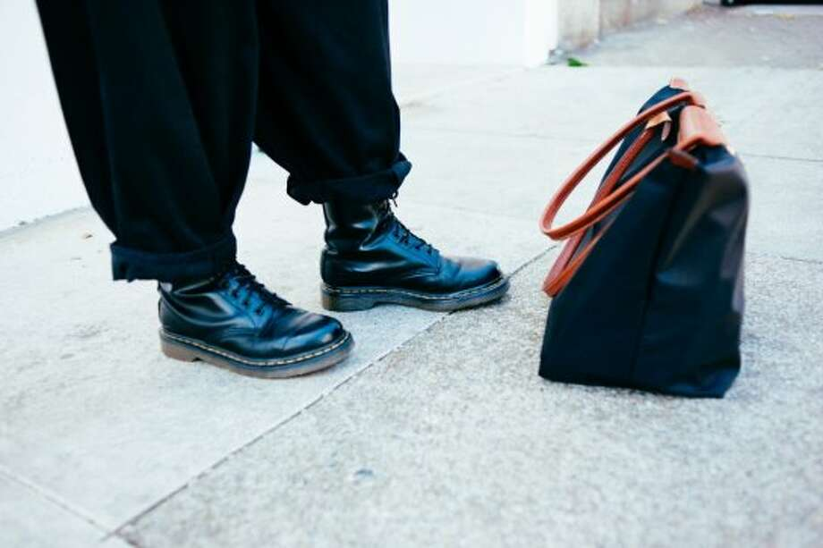 Her boots are Doc Martens, found on Haight Street, and her does-it-all bag is by Longchamp. Photo: William C Rittenhouse
