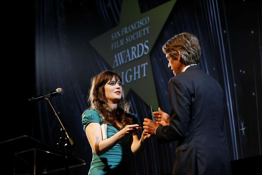"Zooey Deschanel presents the Kanbar Screenwriting Award to Stephen Gaghan, Academy Award winner for ""Traffic."" Photo: Sarah Rice, Special To The Chronicle"