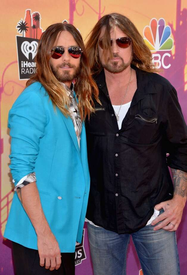 Actor/recording artist Jared Leto of music group 30 Seconds to Mars and Billy Ray Cyrus arrive at the iHeartRadio Music Awards held at the Shrine Auditorium on May 1, 2014. Photo: Michael Buckner/NBC, NBCU Photo Bank Via Getty Images