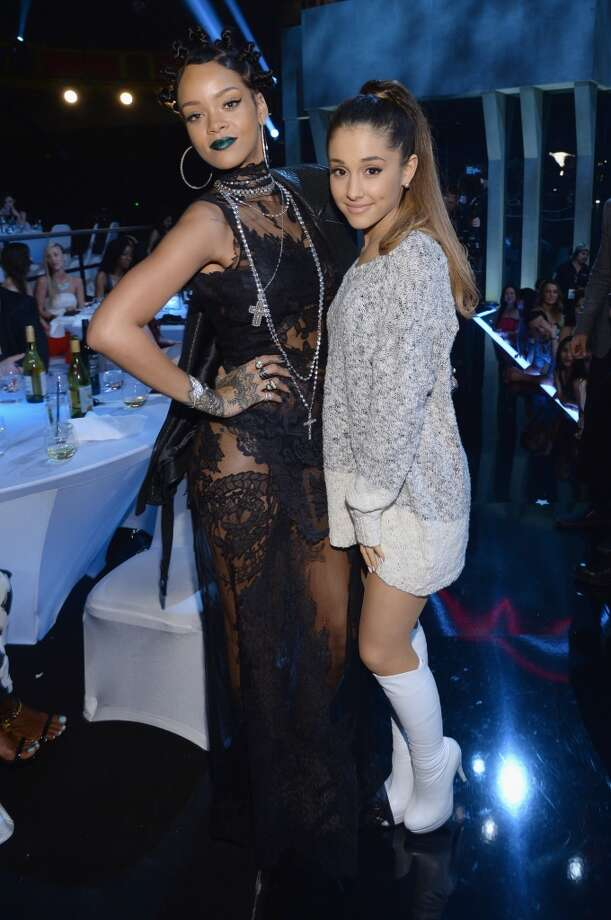 Singers Rihanna and Ariana Grande attend the iHeartRadio Music Awards held at the Shrine Auditorium on May 1, 2014. Photo: Larry Busacca/NBC, NBCU Photo Bank Via Getty Images