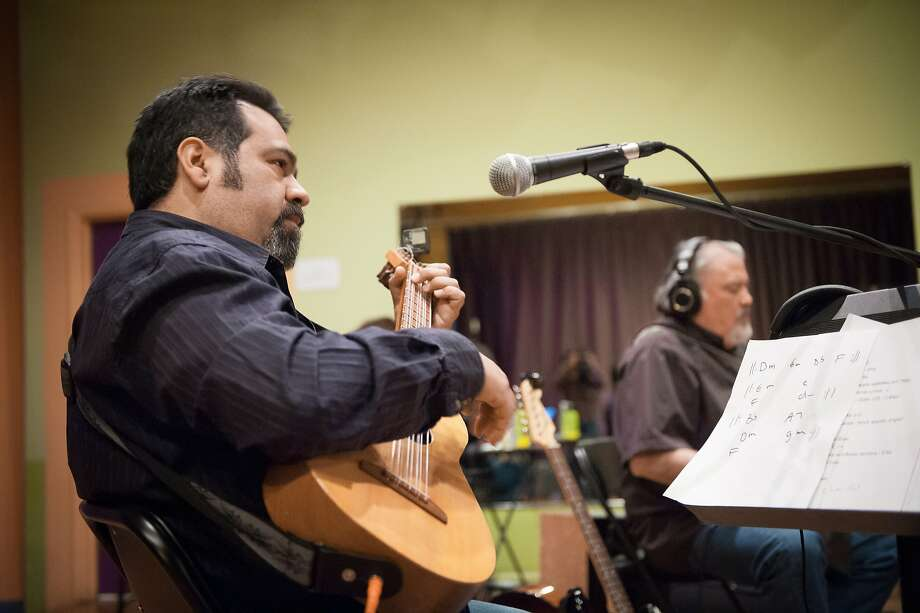 Los Cenzontles' Eugene Rodriguez (left) rehearses music from the Zydeco-Mexican Connection project with David Hidalgo of Los Lobos, who plays on the record  but won't be performing with accordionist Andre Thierry and Los Cenzontles at the Freight & Salvage May 16. Photo from Los Cenzontles. Photo: Mike Melnyk