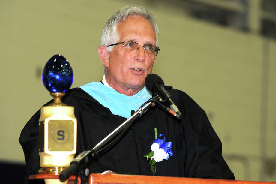 Principal John Dodig speaks during Commencement Exercises for the Staples High School Class of 2013, in Westport, Conn., June 21st, 2013 Photo: Ned Gerard / Connecticut Post