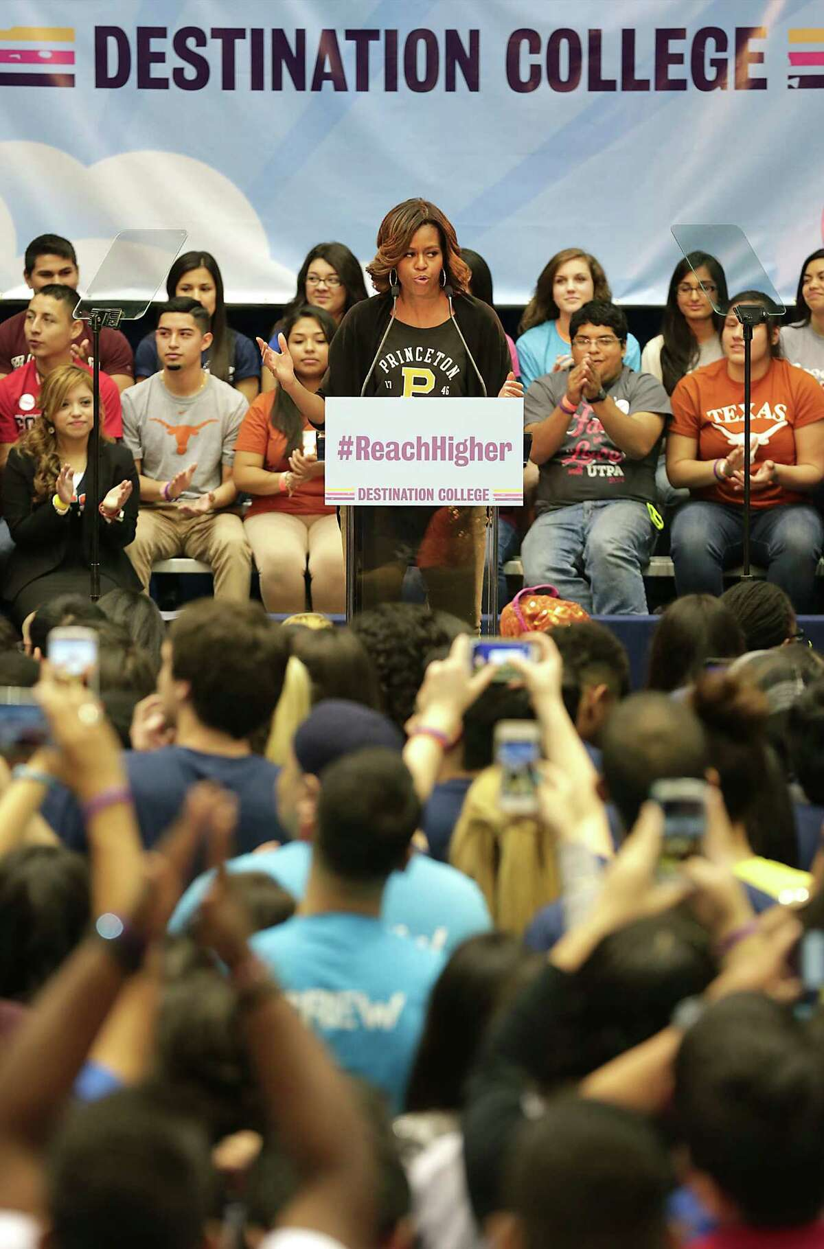 First Lady Michelle Obama speaks at Destination College: 4th Annual College Signing Day at The University of Texas at San Antonio's Convocation Center, Friday, May 2, 2014.