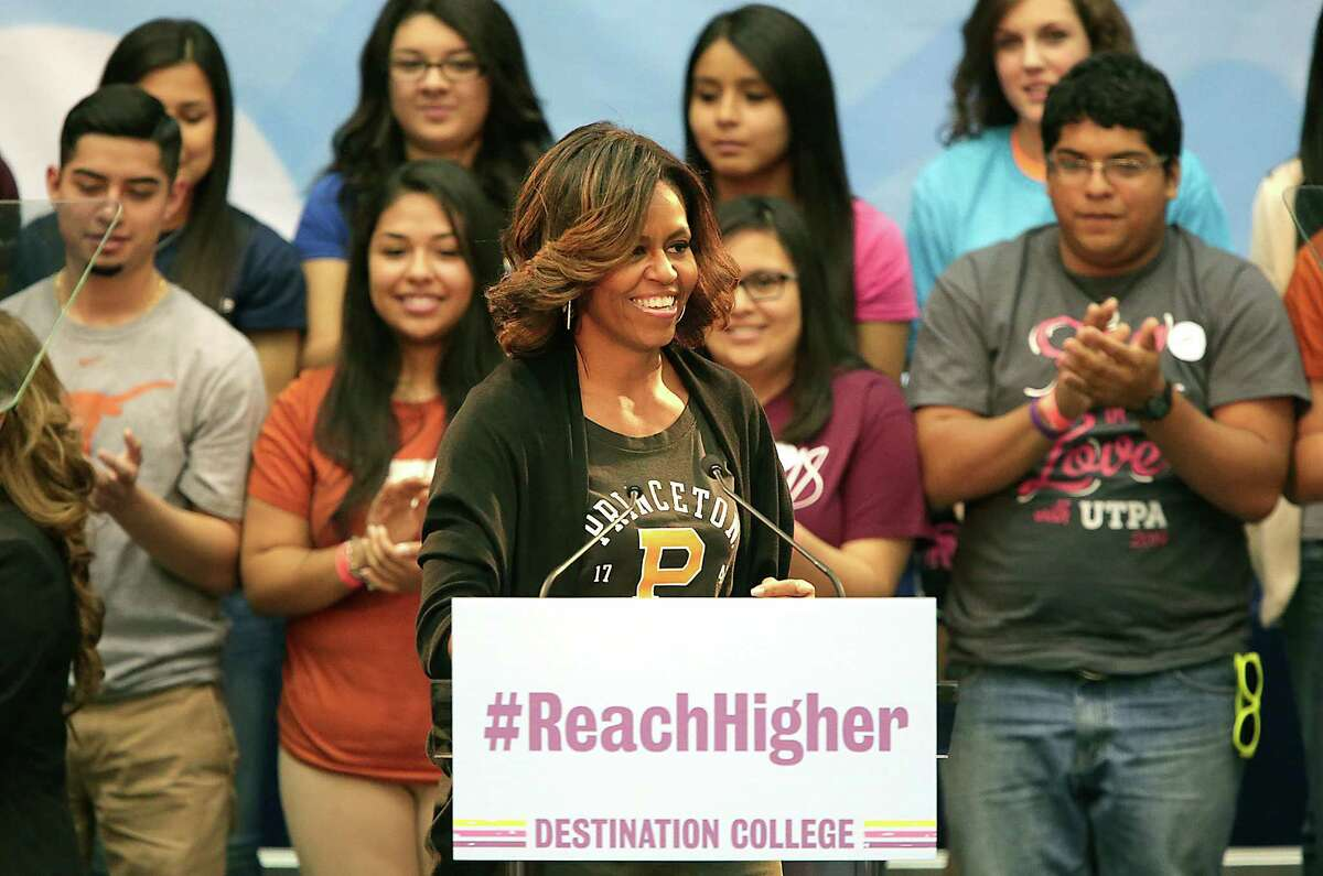 First Lady Michelle Obama takes the stage at Destination College: 4th Annual College Signing Day at The University of Texas at San Antonio's Convocation Center, Friday, May 2, 2014.